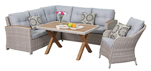 Au jardin de Chloé | Ensemble Repas en résine tressée Demi-Ronde Lana Osier • 6 Places, 1 canapé + 1 Table + 1 Fauteuil •