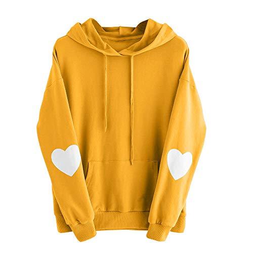 QingJiu Frauen Hoodie Herzförmige Langarm Sweatshirt Jumper Kapuzenpullover Tops Bluse(S-4XL) -