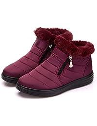 JUWOJIA Las Mujeres Botas De Nieve De Invierno De Felpa De Algodón Suela Caliente Moda Señoras Impermeable con Cremallera Plana Zapatos,Purple,37