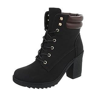 Schnürstiefeletten Damen-Schuhe Schnürstiefeletten Pump Schnürer Schnürsenkel Ital-Design Stiefeletten Schwarz, Gr 39, A-55-