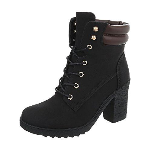 Ital-Design Schnürstiefeletten Damen-Schuhe Schnürstiefeletten Pump Schnürer Schnürsenkel Stiefeletten Schwarz, Gr 38, A-55-