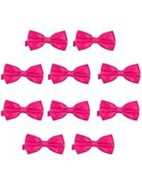 DonDon Lot de 10 Noeud papillon pour homme 12 x 6 cm avec crochet déjà lié et réglable