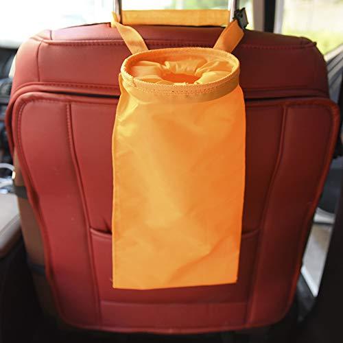 WEWE Coche Bote De Basura,vehículo Bolsa De Basura Viajes Almacenamiento Suspendido Organizador Bolsa Stowing Tidying Basura Fuga-Prueba-Naranja 18x38cm(7x15inch)