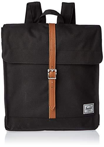 Herschel zaino city mid-volume black tan synthetic leather