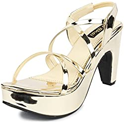 Do Bhai Glass Fashionable & Stylish Heels for Women (EU40, Golden)