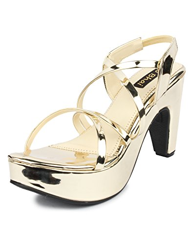 10. Do Bhai Glass Fashionable & Stylish Heels for Women (EU40, Golden)