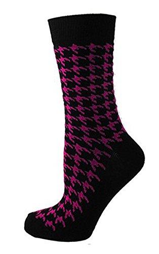 gemusterte Damensocken, schwarz mit Hahnentrittmuster - Gr.37 - 42 (Dogtooth - Pink) (Pink Dr. Schwarz Und Martens)