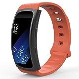 MoKo Armband für Samsung Gear Fit 2 / Fit2 Pro - Silikon Sportarmband Sport Band Uhrenarmband Erstatzband mit Stiftschließe für Gear SM-R360 / SM-R365 Smartwatch, Weiß, Bandlänge 126mm-213mm, Orange