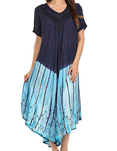 Sakkas 20SE Viveka gestickte Kaftan Kleid - Navy - One Size (Kleid Seide Lange)