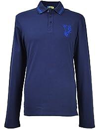 89fa60fd Versace Jeans Men`s Big Logo Long Sleeves Polo Shirt B3GIB720 Navy