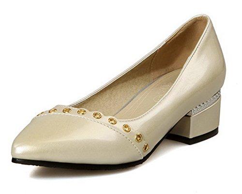VogueZone009 Femme Matière Souple Pointu à Talon Bas Tire Mosaïque Chaussures Légeres Abricot