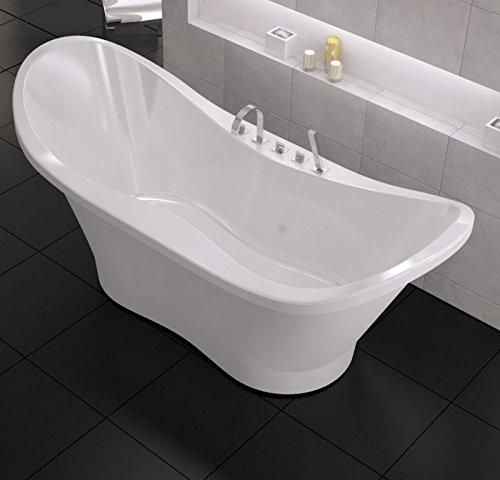 freistehende Badewanne aus Mineralguss 182 x 76,8 x 80,5 cm weiss Design DUO XL
