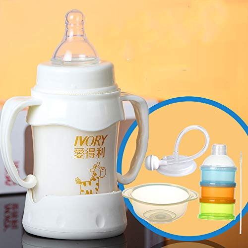 Baby Bottle Newborn Baby - Wide Caliber Straw Bottle Anti-Fall Explosion-Proof Belt Handle 150/180/240/300ML