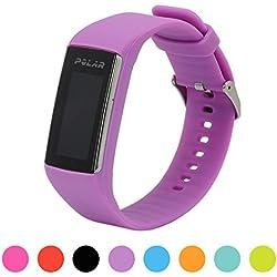 Correa de repuesto para pulsera de actividad Polar A360 Smart Watch iFeeker, correa de silicona y goma para la pulsera de actividad A360 (solo la correa, no incluye el reloj), morado