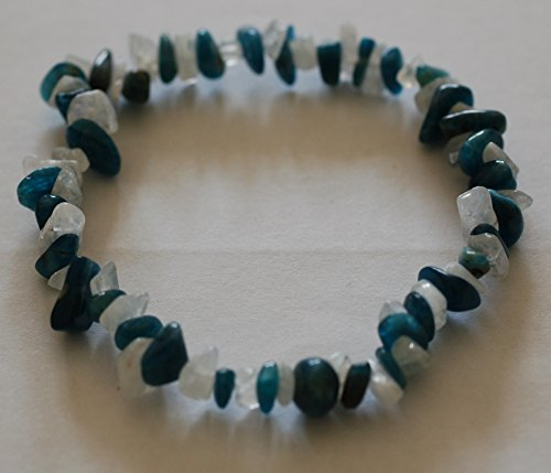 Apatite & piedra lunar Chip Bead cristal curación pulsera