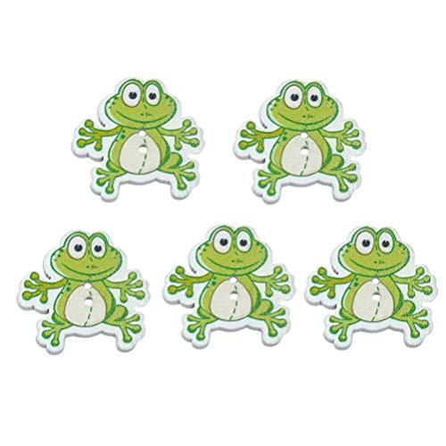 SUPVOX 50 stücke Holz Handwerk knöpfe Cartoon Frosch knöpfe 2 löcher nähen knöpfe zum nähen Handwerk Scrapbooking