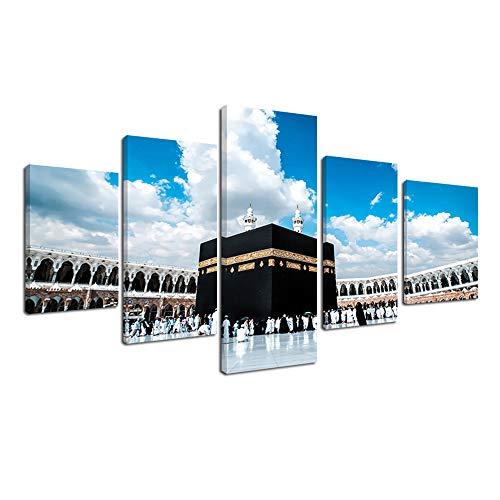 Fajerminart 5 Panels Leinwand Kunst Das Heilige Land Muslimische Leinwand Gemälde Islam Pilgerfahrt,Drucke Auf Leinwand Gesamtgröße 90x150cm Zum Aufhängen(50x30cmx2+70x30cmx2+90x30cm)(Holzrahmen)
