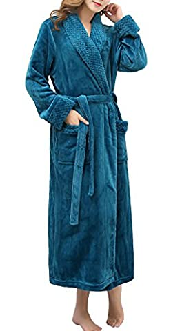 Urbancoco Women's Super Plush Microfiber Fleece Bathrobe Robe with Side Pockets (M, #2 blue)