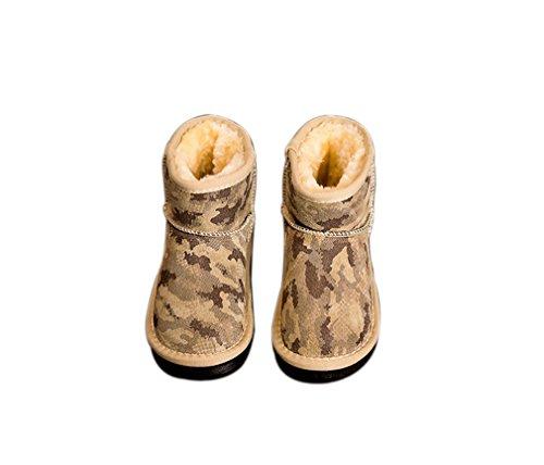 Kauftree Baby Kinder Schlupfstiefel Winterstiefel Schneestiefel Stiefel Schuhe Winter Warm Gefüttert Jungen Mädchen Khaki