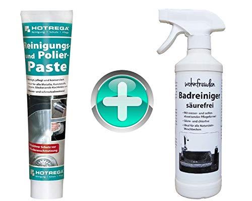 wohnfreuden Set Naturstein Waschbecken Pflege Spray Badreiniger säurefrei 500 ml + Polierpaste 125 ml