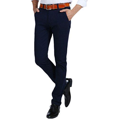 Zhhlaixing Herren Formelle Freizeit Hosen aus Baumwolle Slim Tapered Slant Pocket Elastic Straight Pants Fashion (Pocket Slant Pant)