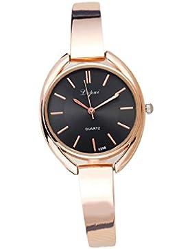 Loveso-Armbanduhr elegant Frauen Mode elegante Quarz-Legierung Band Uhren Armbanduhr_Golden