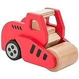 Ultrakidz Holzfahrzeuge / Baustellenfahrzeuge aus Holz, abgerundetes und griffiges Holz-Kinderspielzeug für 2–5-jährige Kinder, Spielautos aus Naturholz – Spielzeugauto: Straßenwalze aus Holz
