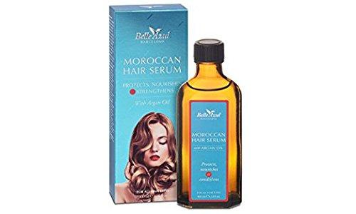 Belle Azul Moroccan Hair Serum - Haarserum mit marokkanischem Arganöl. Intensiv pflegendes Haaröl für trockene, strapazierte und kaputte Haare. Repariert, pflegt und verleiht selbst krausem Haar einen seidigen Glanz. Anti-Frizz und Hitzeschutz. Für alle Haartypen geeignet. Nicht fettend. Toller Duft. 100 ml