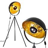 Stehlampe Saturn, Vintage Stehleuchte mit Lampenschirm in Gold/Schwarz aus Metall, Ø 43 cm, E27-Fassung, max. 40 Watt, verstellbare Bodenleuchte im Retro-Design, auch geeignet für LED Leuchtmittel
