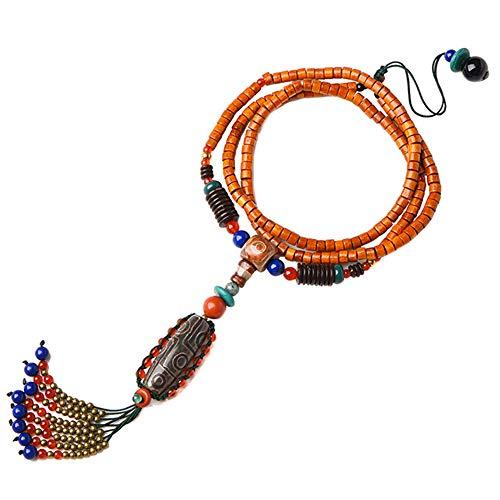 Jade Naturstein Halskette Tibetische buddhistische Dzi Perlen Anhänger Nationaler Stil Handgemacht Schmuck Für Geburtstag Jubiläum,DziBeads (Buddhistische Kostüm)