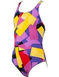 Arena Glassy - Bañador para niña, niña, 1A268/6-7/53, Negro/Amarillo, Size 6-7