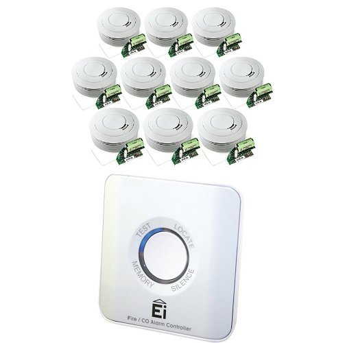 Ei Electronics Ei650RF 10-Jahres-Funkrauchwarnmelder, weiß, 10 Stück + Einknopf-Fernbedienung für...