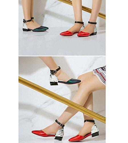 Beauqueen Scarpin della cinghia della caviglia delle donne delle ragazze pompa partito casuale scarpe tacco basso Scarpe Eleganti Verde Rosso Europa formato 34-39 Red