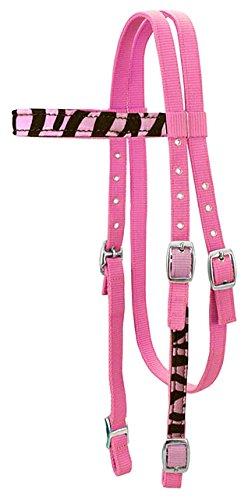 Tahoe Tack Zebra Print Overlay - Cabezal de nailon con reinas a juego, color rosa