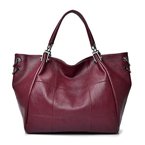 KrisAnna Damen Plaid Bestickt Tote Tasche Große Shopper aus PU Leder Rotwein EINWEG (Tasche Anna)