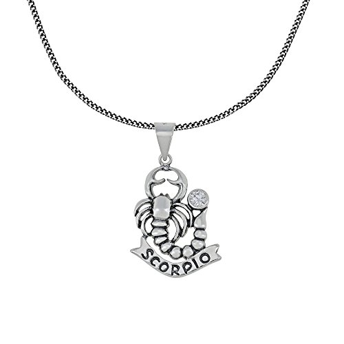 Zodiac Sign Scorpio Pendant Chain Necklace Sterling Silver Jewelry Charm Amulet