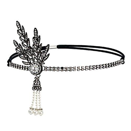 (Homyl Damen Charleston Stirnband Kopfband 20er jahre Haarschmuck Party Kostüm Accessoires - Schwarz)