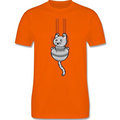 Katzen - Kratze Katze - Herren Premium T-Shirt Orange