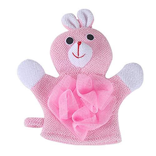 Haorw Baby Peelinghandschuh Tier Design Duschknäule, Badeknäul Massagehandschuh für Babys (Rosa) -