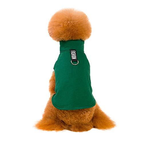 (Fenverk Mode GemüTlich Gedruckt Baumwolle Mit Kapuze Sweatshirts Hund Kleider Haustier Kleidung HüNdchen Weste T-Shirt Mantel Bekleidung Cosplay Party Sicherheit KostüMe(Grün,M))