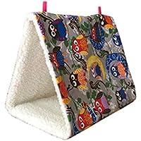 Bird Hamac, Hunpta Bird Parrot Cage Hamac en peluche Snuggle Happy Hut Tente Lit superposé jouet à suspendre Grotte 13*17*11cm