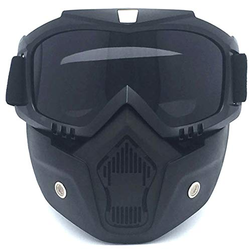 CHKE Motorradhelm Reitbrille Brille mit Abnehmbarer Maske, abnehmbare Anti-Fog-Schutzbrille, Einstellbarer Anti-Rutsch-Gürtel Retro Harley Bullet Fighting Motorcycle