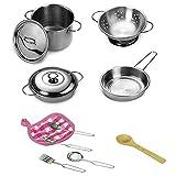 Play Kitchen–Set di pentole e padelle, Teepao set da cucina per bambini, in acciaio INOX con pentole Playset cucina fingere giocattoli per bambini