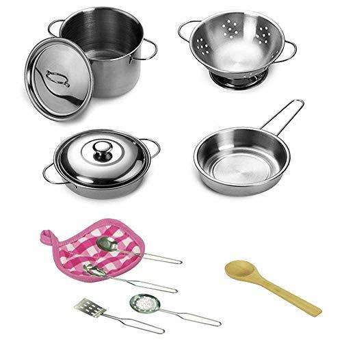 Teepao Kinder-Küchen-Set mit Töpfen und Pfannen, aus Edelstahl, Kochgeschirr, Spielset, Spielzeug für Kinder (Kleinkind, , Kuchen Pfannen)