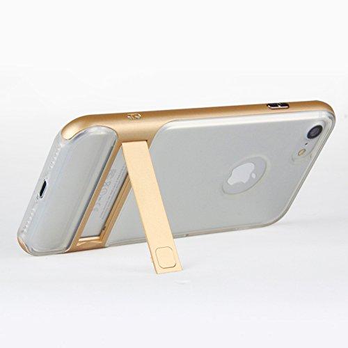 BCIT iPhone 7 Hülle - Hybrid kratzfeste stoßdämpfende TPU +PC Bumper Frame Dual Layer Tasche Schutzhülle mit Ständer für iPhone 7 - Transparent Rose Gold Transparent & Gold
