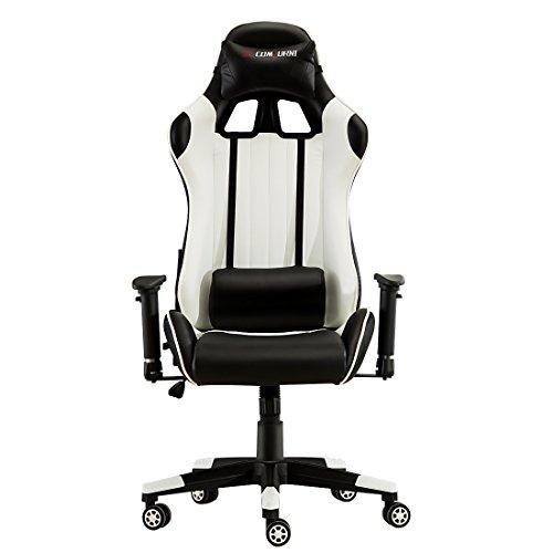 Foto JL Comfurn, sedia ergonomica girevole da ufficio, con schienale alto e resistente, in ecopelle, ideale per scrivania, computer, postazione gioco, stile auto da corsa Black&White-2