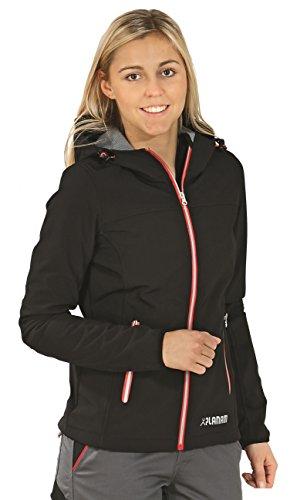 3735 Planam Unit Damen Softshell Jacke schwarz/ rot (XL (44), schwarz/ rot)