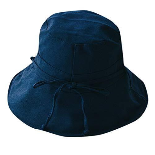 VRTUR Fischerhut Faltbar Sonnenhut Damen Sommer UV 50+ Schutz Outdoor Wandern Camping Angeln Golf Modehut aus Baumwolle Leinen Sonnenschutz Sun Hut ()