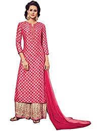 Like A Diva Pink Beige Embroidered Palazzo Suit Semi Stitched Dress Material For Women