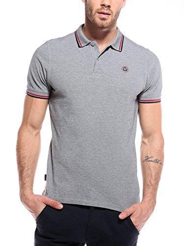 Woldo Athletic Poloshirt Herren Polohemd Polo Hemd Shirt Kurzarm (L, grau)